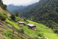 Traditional Bhutanese architectures on the way to Bumthang to Wangduephodrang, Bhutan. Asia Royalty Free Stock Image