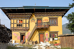 Traditional bhutanese house, Sopsokha, Punakha, Bhutan Royalty Free Stock Photos