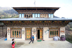 Traditional bhutanese rural house, Bhutan Stock Photography