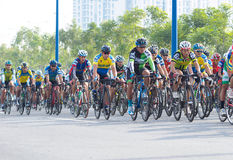 Traditional bicycle race to welcome the New Year 2015 Stock Photo