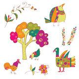 Traditional birds and flowers ethnic Royalty Free Stock Photos