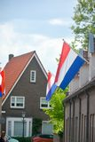 Traditional birthday celebration of King of the Netherlands Willem-Alexander, King's Day national holiday on April 27, Dutch flag stock photos