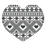 Traditional black Ukrainian or Belarusian folk art heart pattern - Valentine's Day Stock Photo