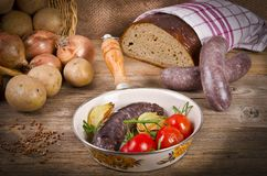 Traditional blood sausage Royalty Free Stock Photos