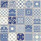Traditional Blue Ceramic Vintage Flowers Vector Illustration royalty free illustration