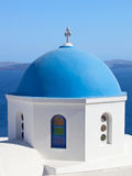 Traditional blue cupola in Oia, Santorini Royalty Free Stock Photography