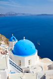 Traditional blue dome with  sea, Santorini Royalty Free Stock Photography