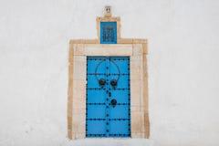 Traditional blue door in Sidi Bou Said village, Tunisia stock photos
