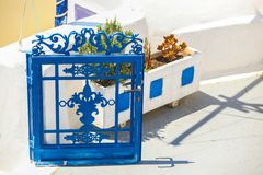 Traditional blue entrance to a Greek house on Royalty Free Stock Photos