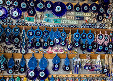 Traditional blue evil eyes - popular Turkish souvenir. Stock Photos