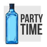 Traditional blue gin glass bottle, poster design, party time concept Stock Images