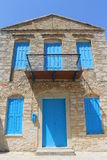 Traditional blue greek doors and windows Royalty Free Stock Images