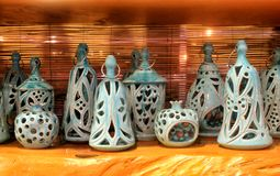 Traditional blue painted ceramic souvenirs, Greece. Traditional handmade blue painted ceramic souvenirs, Greece royalty free stock photo