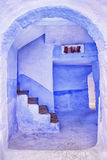 Traditional blue painted house in Chaouen, Morocco Stock Images