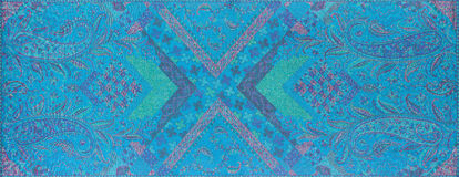 Traditional blue paisley pattern silk headscarf sample Royalty Free Stock Image