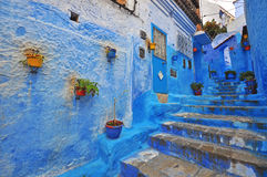 Traditional blue patio in Chefchaouen Royalty Free Stock Images