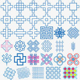 Traditional Blue Pattern Design Set. Best of use your Web and wallpaper background design Royalty Free Stock Photos
