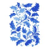 Blue Azulejo Poster, Vertical Vector Artwork with Watercolor Leaves, Curls and Foliage. Traditional Blue Portugal Azulejo Poster, Vertical Vector Ornamental stock illustration