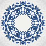 Traditional blue round sunflowers pattern frame Stock Photo