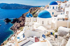 Traditional blue-white houses stock image