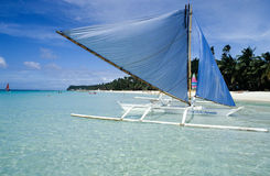 Traditional boat on the beach at the island of Boracay Stock Photo