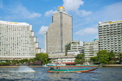 Traditional boat on the Chao Phraya River in Bangkok Royalty Free Stock Photos