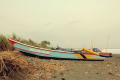 Traditional Boat in Fisherman Village Bojongsalawe Beach royalty free stock photos