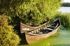 Traditional boat. Traditional fishing boats, in Sfantu Gheorghe, Romania Stock Photography