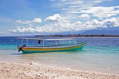Traditional boat on Gili Meno beach in Indonesia. Asia Royalty Free Stock Image