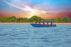 Traditional boat on Gili Meno beach in Indonesia, Asia. At sunset Royalty Free Stock Image