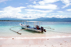 Traditional boat on Gili Meno island beach, Indonesia Stock Images