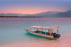 Traditional boat on Gili Meno island beach, Indonesia Royalty Free Stock Photo