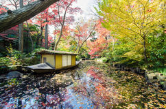 Traditional Boat In Japanese Garden Royalty Free Stock Photography