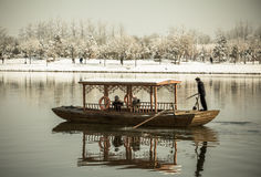 Traditional boat on a lake Royalty Free Stock Images