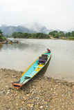 Traditional boat in Nam Song river at Vang Vieng, Laos Royalty Free Stock Photography