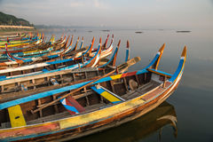Traditional boat near the U Bein Bridge, Mandalay, Myanmar Royalty Free Stock Images