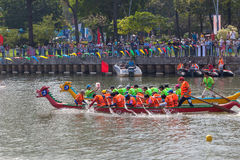 Traditional boat race held to celebrate New Year 2015, aiming to call people to keep the city green and clean environment Royalty Free Stock Photo