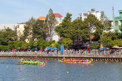 Traditional boat race held to celebrate New Year 2015, aiming to call people to keep the city green and clean environment Stock Images