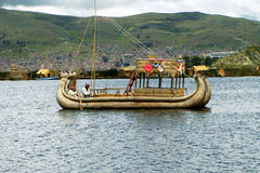 Traditional boat of Titicaca lake Stock Photography