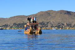 Traditional boat on Titicaca lake Royalty Free Stock Photo