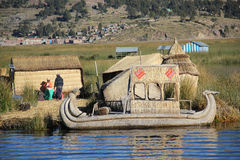 Traditional boat on Titicaca lake Royalty Free Stock Image