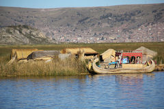 Traditional boat on Titicaca lake Royalty Free Stock Photography