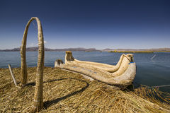 Traditional boat of titicaca lake on water Royalty Free Stock Photo
