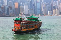 Traditional Boat on Victoria Harbour. Hong Kong. Stock Images