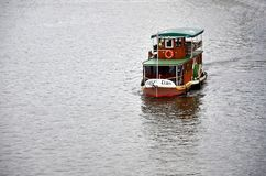 Traditional boat in the Vltava river Royalty Free Stock Photo
