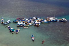 Traditional Boats in Belitung Indonesia stock image