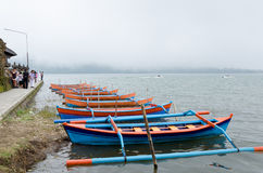 Traditional boats at Bratan lake Royalty Free Stock Photo