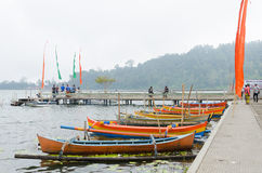 Traditional boats at Bratan lake Royalty Free Stock Images