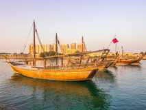 Traditional boats called Dhows are anchored in the port Royalty Free Stock Image