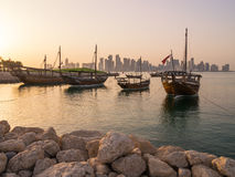 Traditional boats called Dhows are anchored in the port Royalty Free Stock Photos